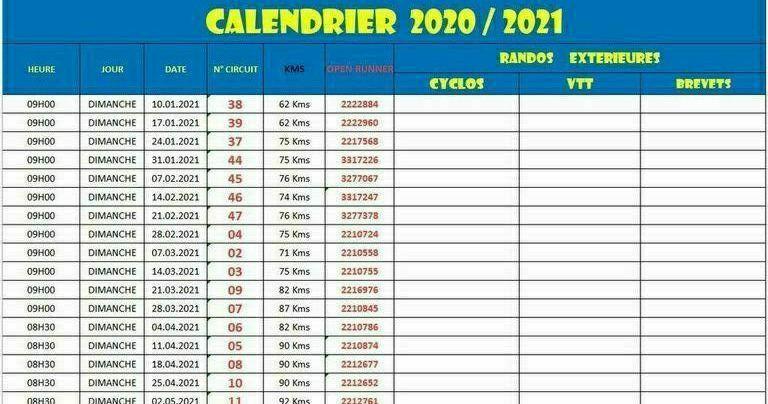 Calendrier Ffct 2021 RANDO DU DIMANCHE 2020/2021   CYCLO CLUB BEAUPREAU   CCB